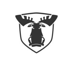 The evil moose head logo vector emblem