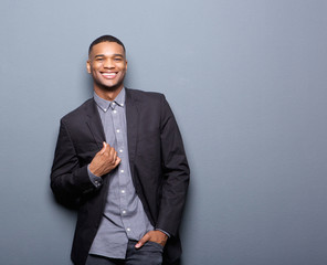 Fashionable african american man smiling