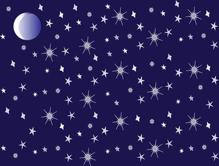 The stars and the moon on dark background