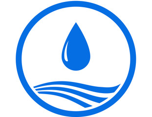 water drop and blue wave