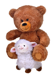 toy teddy bear on whit sheep