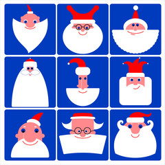 Santa Claus vector icon set