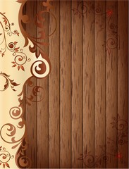 floral abstract with wooden background