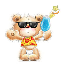 Cute Teddy bear with cocktail in summer glasses &Hawaiian shirt
