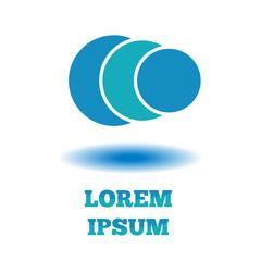 Logo abstract circle, company flat design blue template