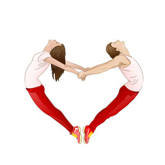 couple forming a valentine's heart shape with their bodies,