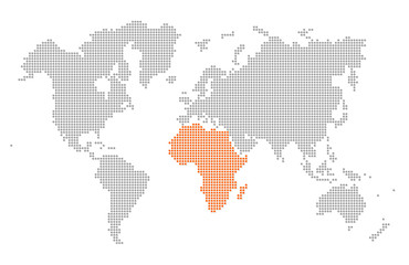 Highlighted Africa in dotted world map