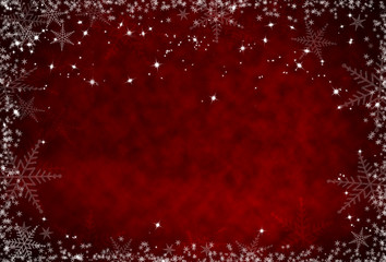 Christmas red background with snowflakes frame