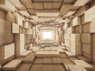 Tunel drewniany 3D