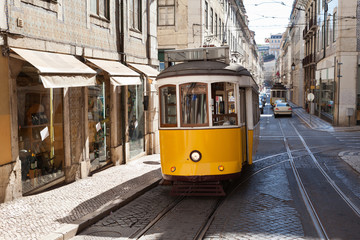 Traditional Tram Moving On Street