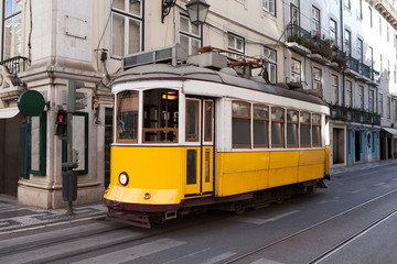 Traditional Tram On Street