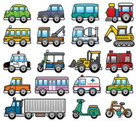 Vector Illustration of cartoon Car set