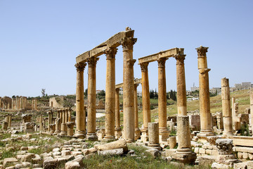 Old Roman street with stone pillars in Jerash, Jordan