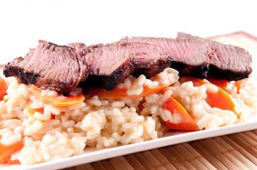 medium beef ternderloin with risotto