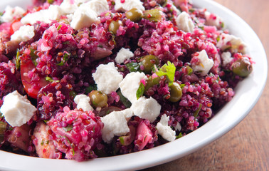 beet salad with quinoa and chicken. A protein rich, healthy meal