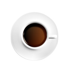 White porcelain Cup of black coffee