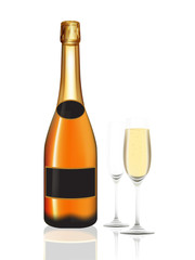 Champagne orange bottle and two champagne glass on white