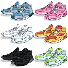 Vector Set of Cartoon Running Shoes