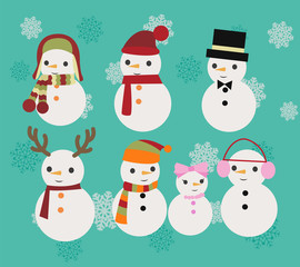 Christmas Illustration set of snowmen