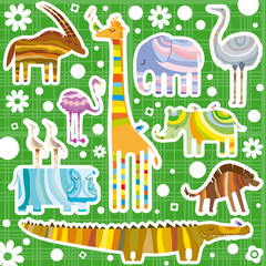 African Animals Color Background