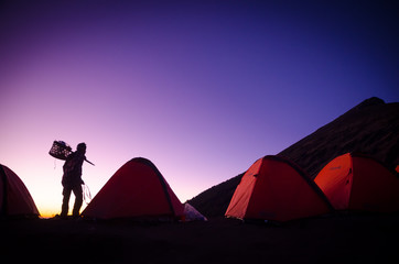 Silhouette on the camp to Mount Rinjani , Lombok , Indonesia