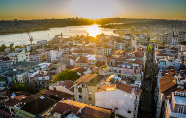 Top View Crowded city of istanbul at sunset