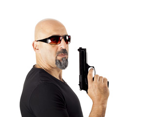 The man with gun on white