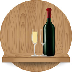 Wine bottle and glass on wood shelf