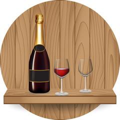 Wine bottle and glass on wood shelf