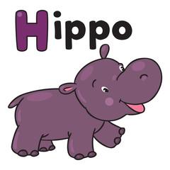 Little funny hippo. Alphabet H