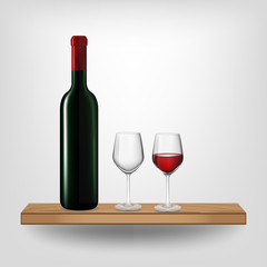 Red wine bottle and glass on wood shelf