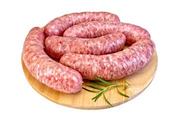 Sausages pork on round board