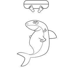 Coloring book. Shark and man's legs in the ocean