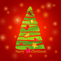 Christmas tree watercolor.winter holiday. Vector