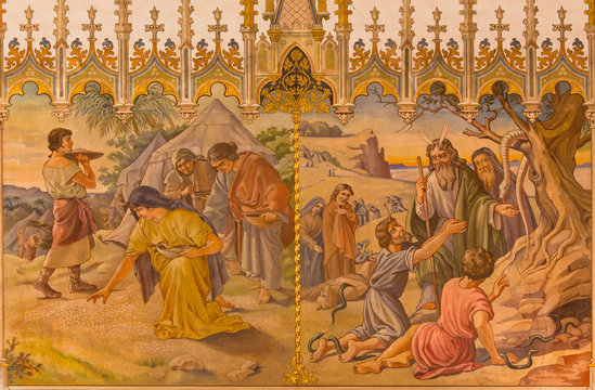 Gathering of manna, and as Moses made a bronze snake