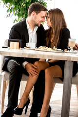 Young couple at the restaurant