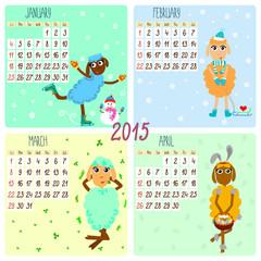 2015 calendar with funny sheep. Winter, spring