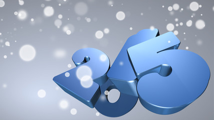 Blue number 2015 in 3D on gray background with snowflakes