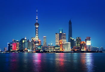 Fotorolgordijn Shanghai Shanghai at night, China