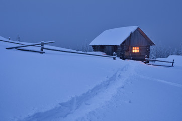 Fototapete - Fabulous house in the snow