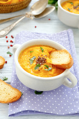 pumpkin puree soup with croutons