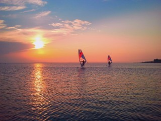 Windsurfing and sunset