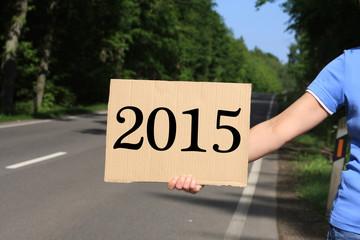 Tramper mit Schild 2015