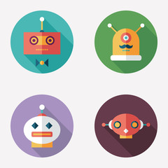 Robots flat round icons with long shadows. Set 12