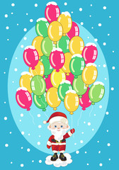Small Santa Claus with Balloons (without gradients)
