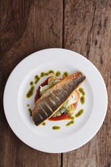 cooked sea bass meal