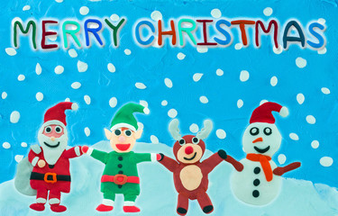 Christmas Character holding hand on Snow field background