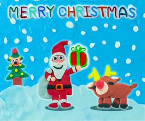 Christmas santa claus and reindeer on snow field