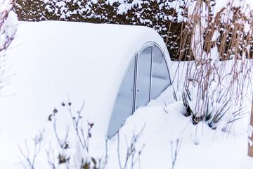 Printed roller blinds Art Studio Gewächshaus im Schnee