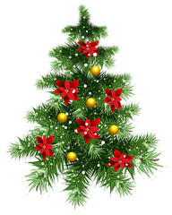 Fluffy green Christmas tree with ornaments